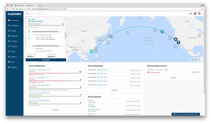 FLEXPORTのダッシュボード画面 出所:FLEXPORT Website