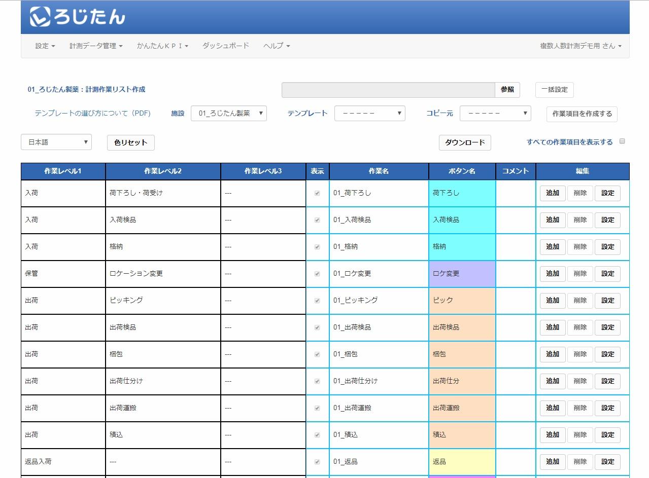 図1:ろじたん管理者用WEBサイトの計測作業リスト作成画面